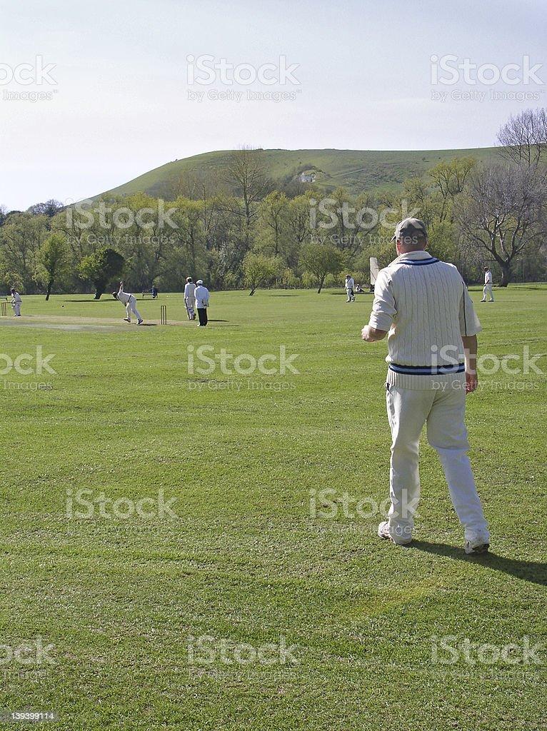Fielding in the deep stock photo