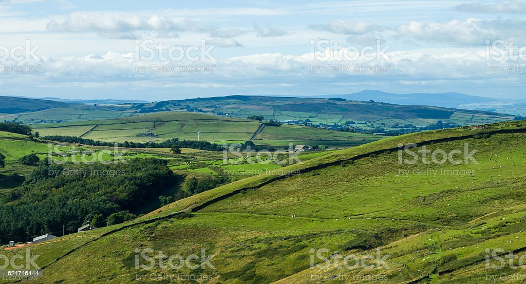 Fields and Farms in Lancashire stock photo