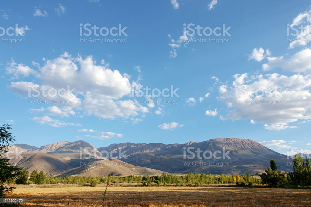 Fields and mountains stock photo