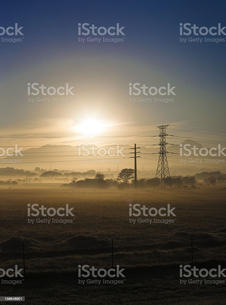 Fields and power lines royalty-free stock photo