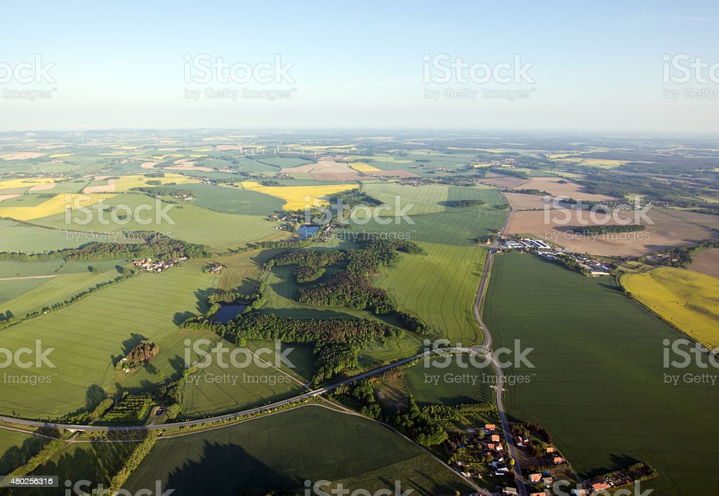 Fields and roads from above in Saxony, Germany