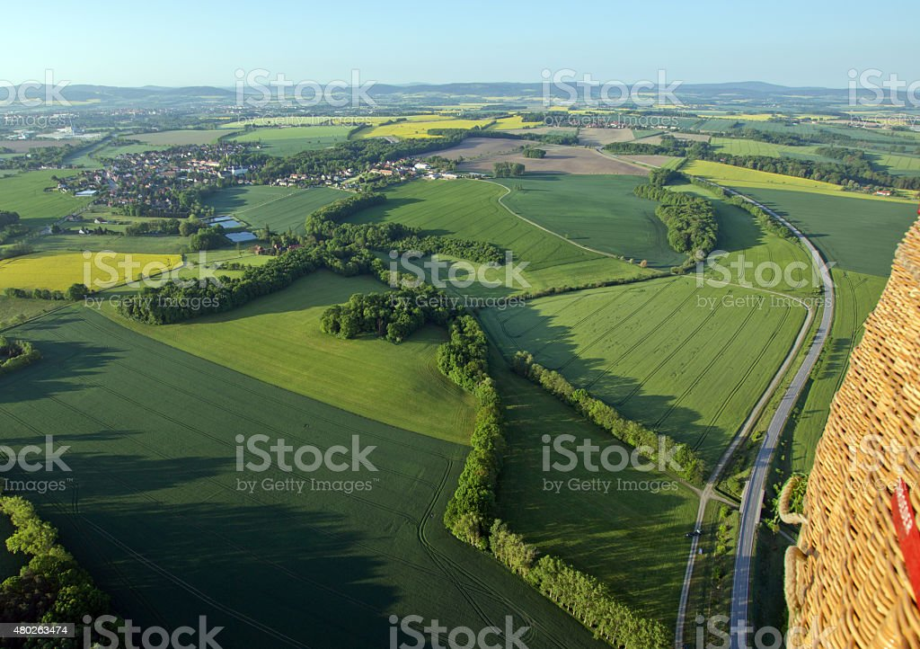 Fields and roads from above in Saxony, Germany stock photo