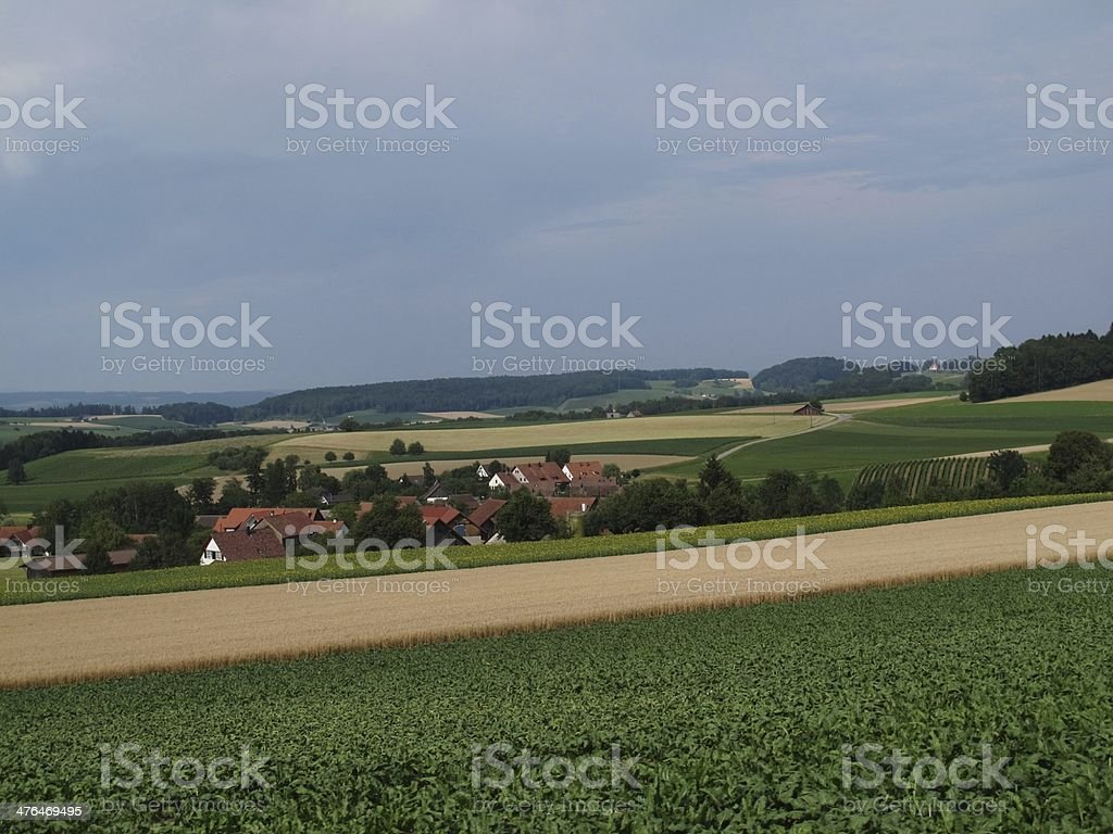 Fields and settlement royalty-free stock photo