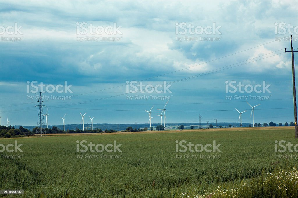 Fields and wind farms stock photo