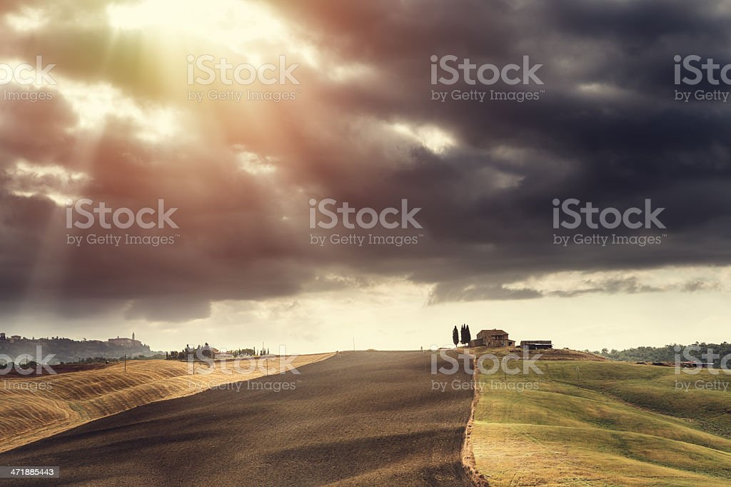 fields in Tuscany royalty-free stock photo