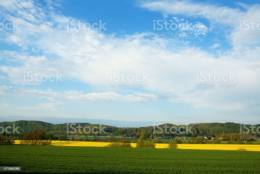 Fields in valley of Ruhr stock photo