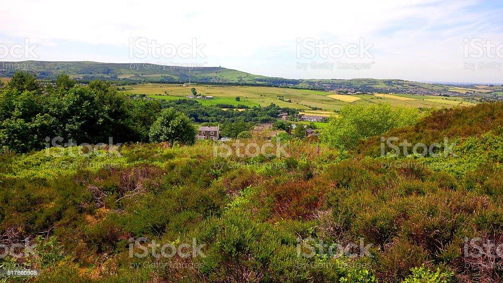Fields on the West Pennine Moors near Darwen stock photo