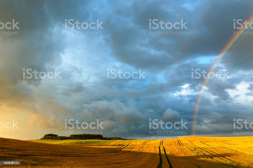 Fields Rainbow Sunset stock photo