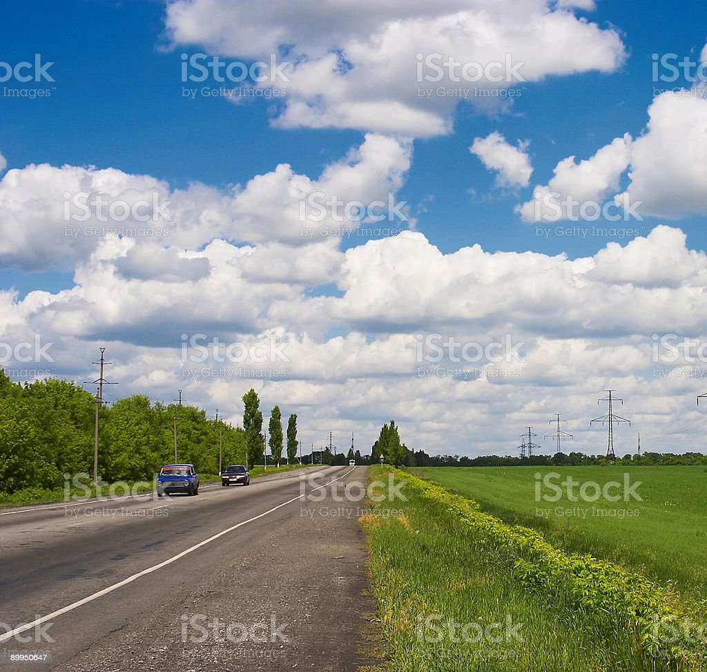 Fields, road and Sky royalty-free stock photo