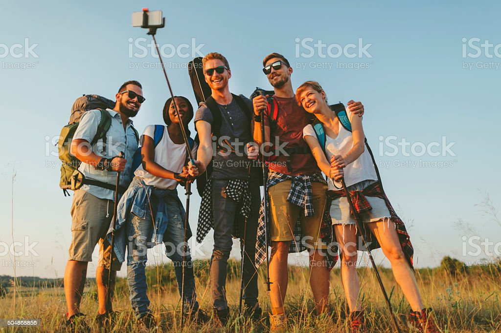 Fiends Hiking In Nature stock photo