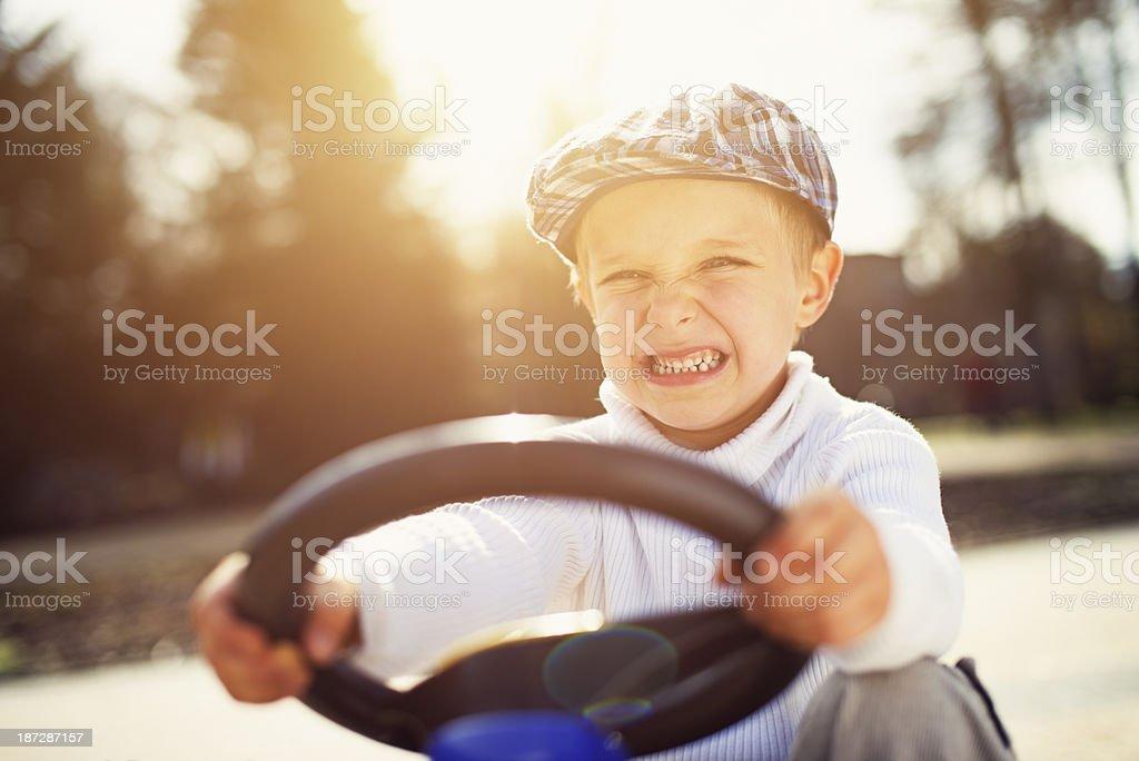 Fierce retro driver stock photo
