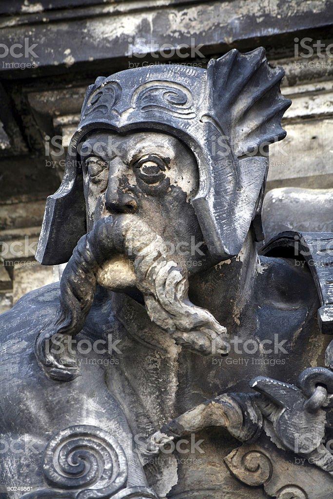 Fierce warrior on a facade in Dresden stock photo