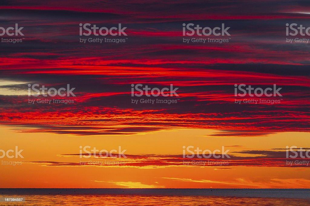 Fiery Fall Sunset stock photo