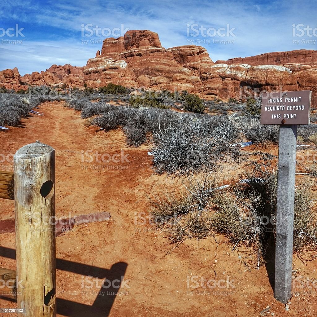 Fiery Furnace Hiking Permit Required Sign, Arches National Park, Utah stock photo