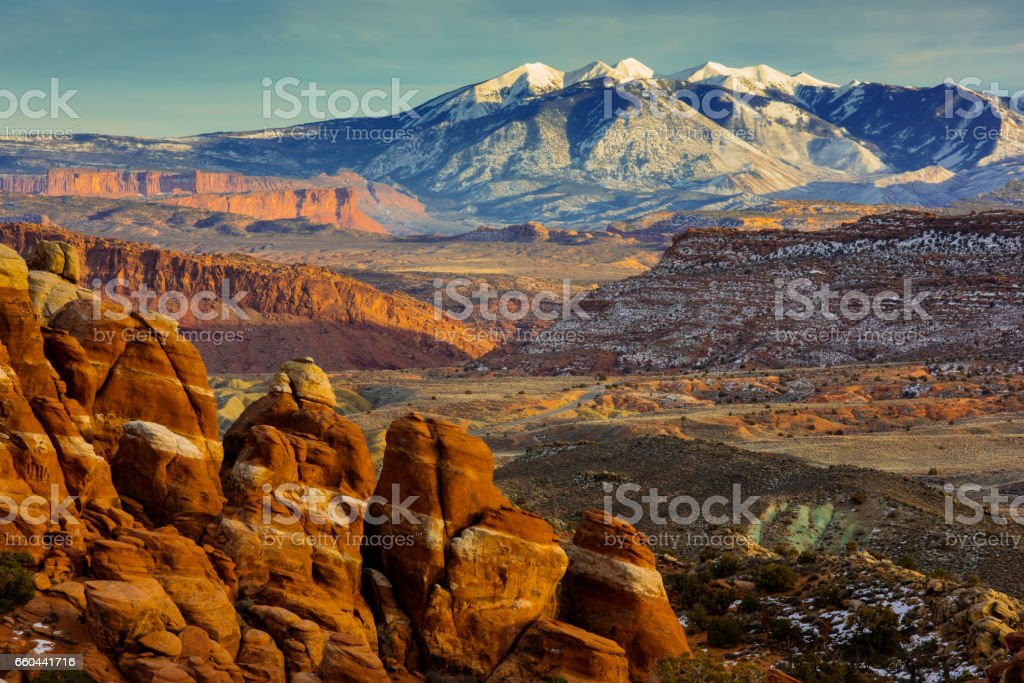 Fiery Furnace in Arches National Park Utah stock photo