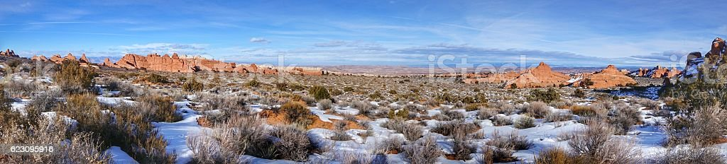 Fiery Furnace Panoramic, Salt Valley, Arches National Park, Utah stock photo