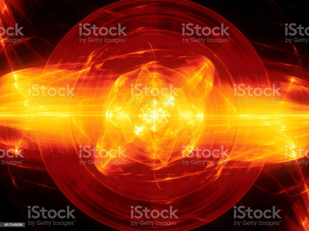 Fiery glowing fusion with plasma force field stock photo