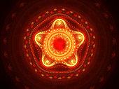 Fiery glowing mandala fractal