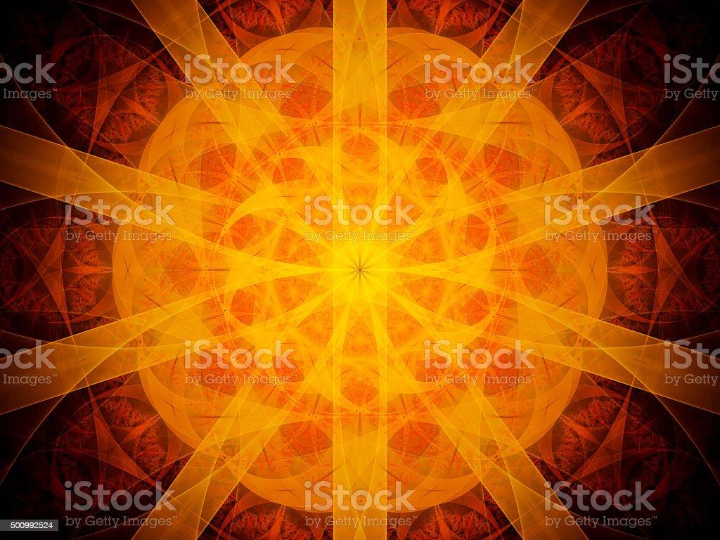 Fiery glowing red mandala in space stock photo