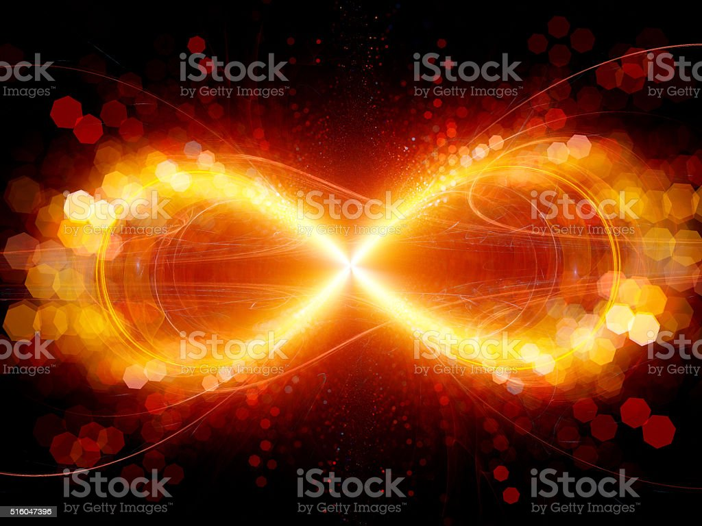 Fiery infinity sign explosion with particles stock photo