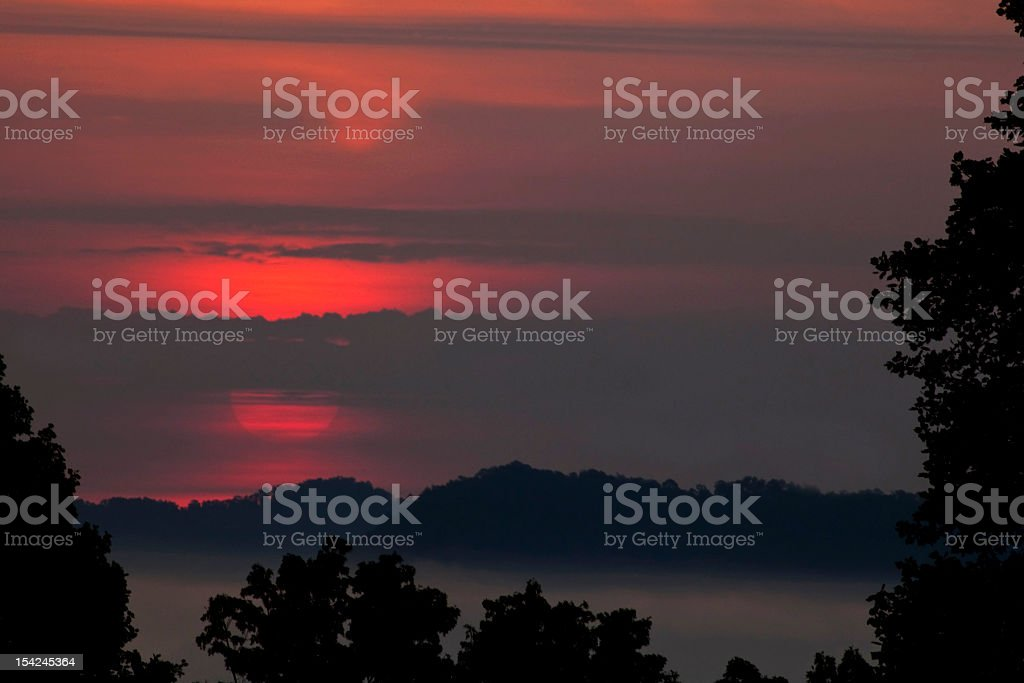 Fiery morning in the Smoky Mountains stock photo