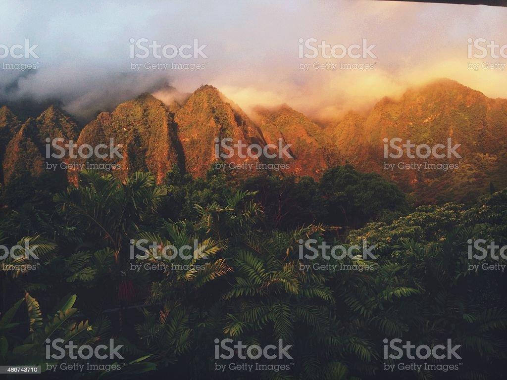 Fiery Morning Light Tropical Hawaiian Mountain Range stock photo