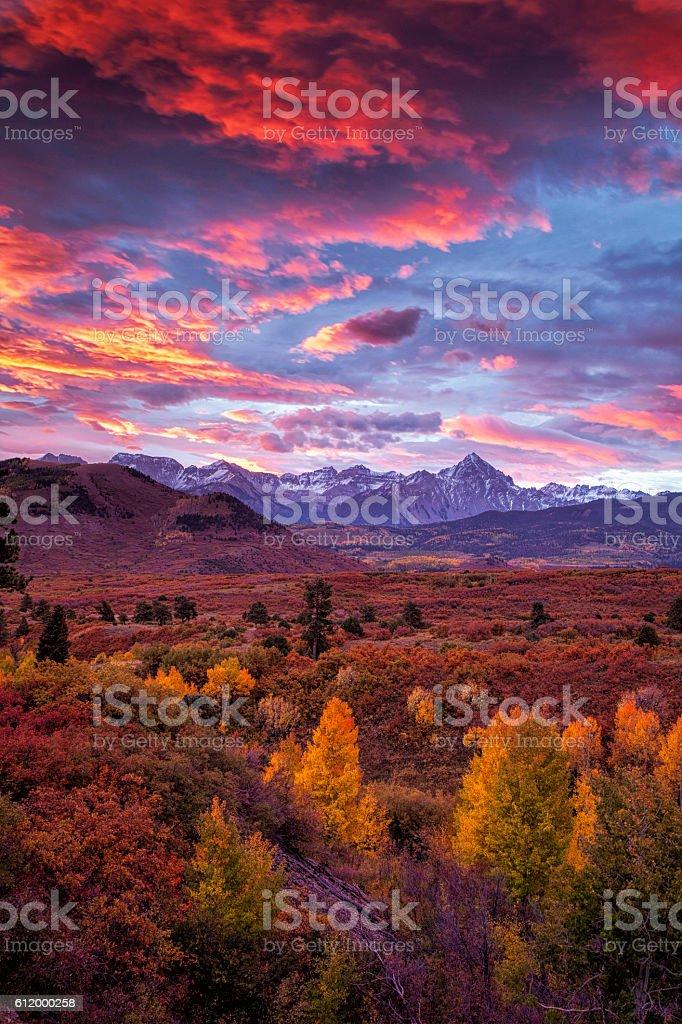 Fiery Mountain Sunrise stock photo