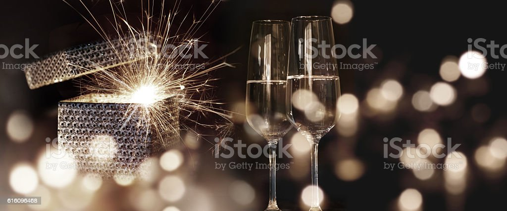 Fiery new year wishes stock photo
