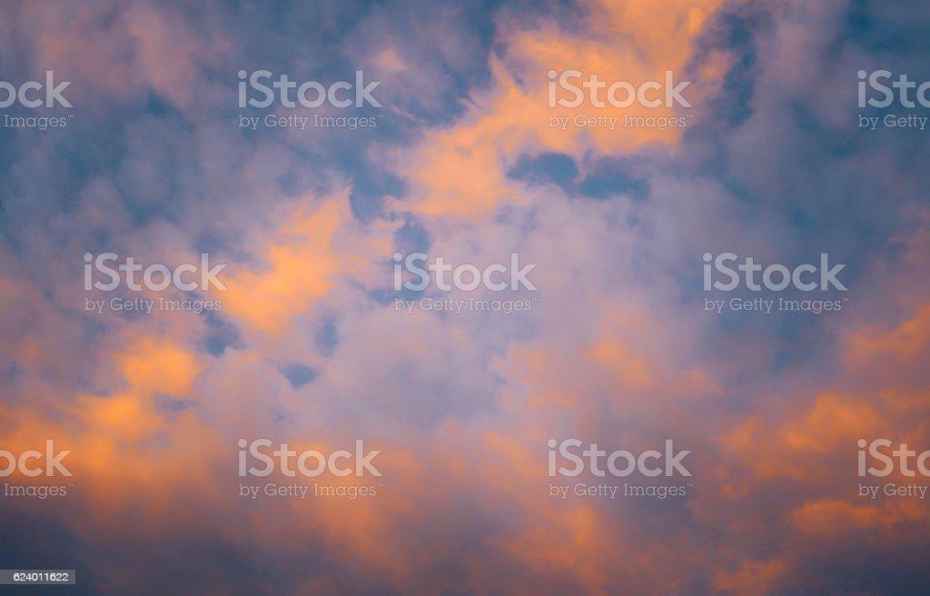 Fiery orange sunset sky. Beautiful sky. stock photo
