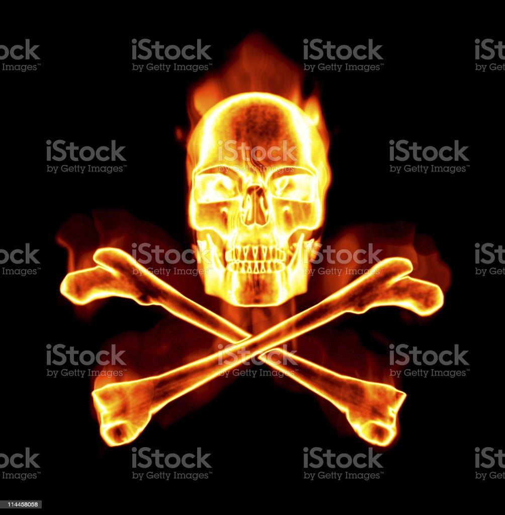 fiery skull and cross bones stock photo