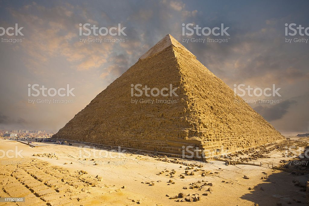 Fiery Sky Giza Pyramid Egypt stock photo
