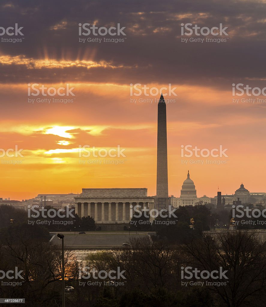 Fiery sunrise over monuments of Washington stock photo