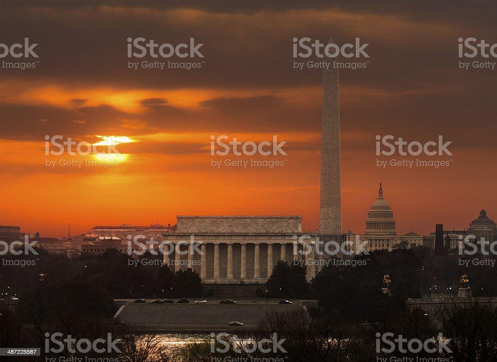 Fiery sunrise over monuments of Washington stock photo