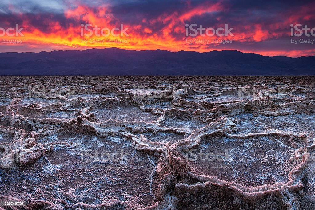 Fiery Sunset at Death Valley stock photo