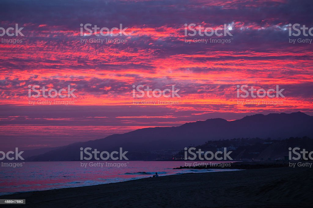 Fiery Sunset At Will Rogers Beach, Los Angeles royalty-free stock photo