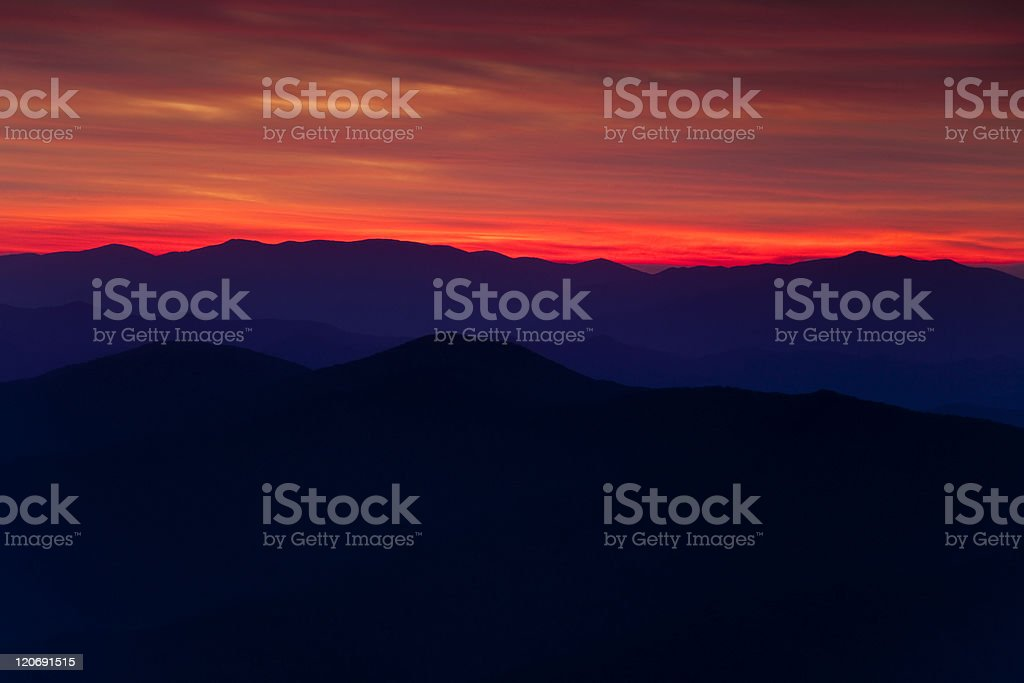 Fiery Sunset in the Smokies royalty-free stock photo