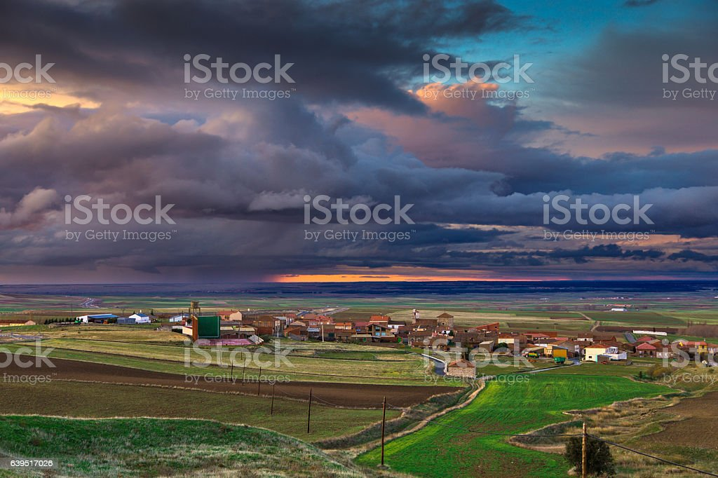 Fiery Sunset Over Spanish Rural Scene stock photo