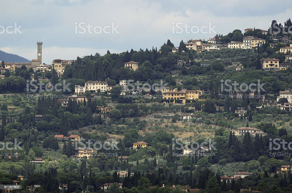Fiesole seen from Florence, Tuscany Italy stock photo