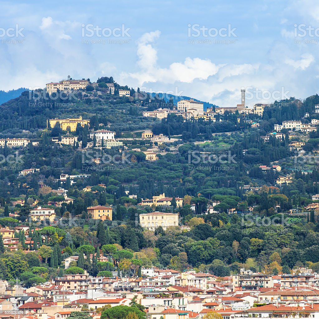 Fiesole town above Florence city stock photo