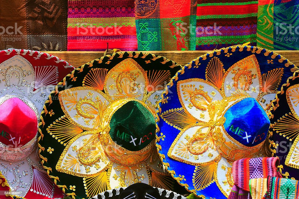 Fiesta! Colorful Mexican sombreros (hats) pattern, Mexico City stock photo