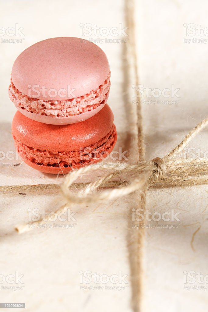 fiestive macaroons on gift present box, shaloow dof royalty-free stock photo