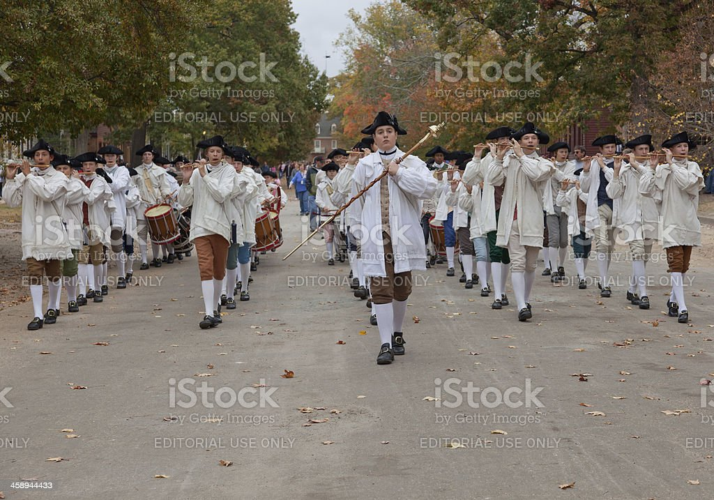 Fife and Drum Corps, Colonial Williamsburg royalty-free stock photo