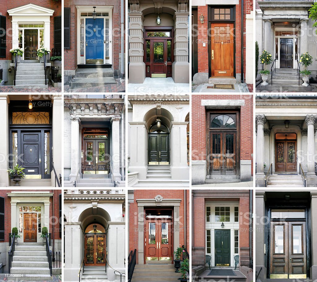 Fifteen photos of front doors on a grid  stock photo