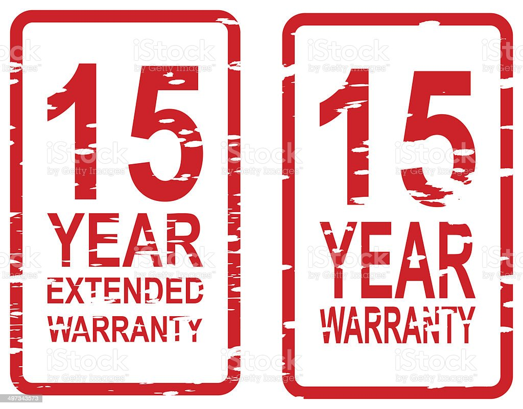 Fifteen Year Warranty Stamps stock photo