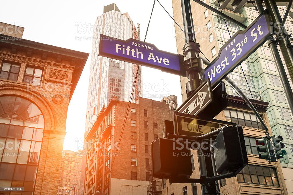 Fifth Ave and West 33rd sign in New York City stock photo