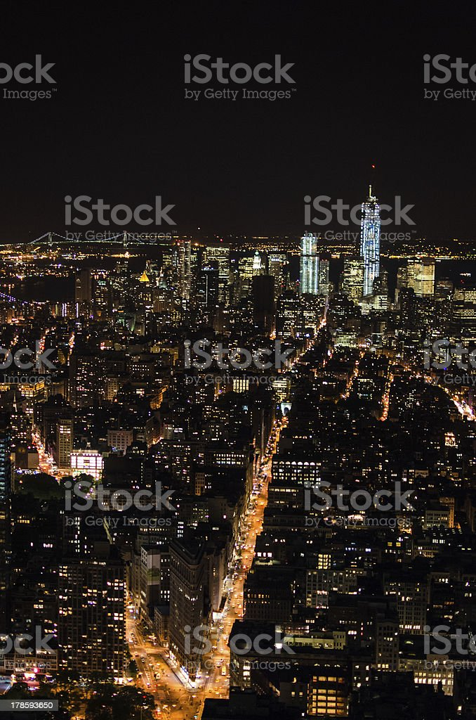 Fifth Avenue and Downtown Manhattan by Night royalty-free stock photo