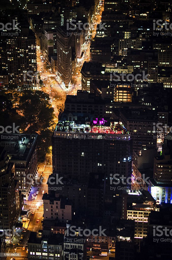 Fifth Avenue and Flatiron Building by Night royalty-free stock photo