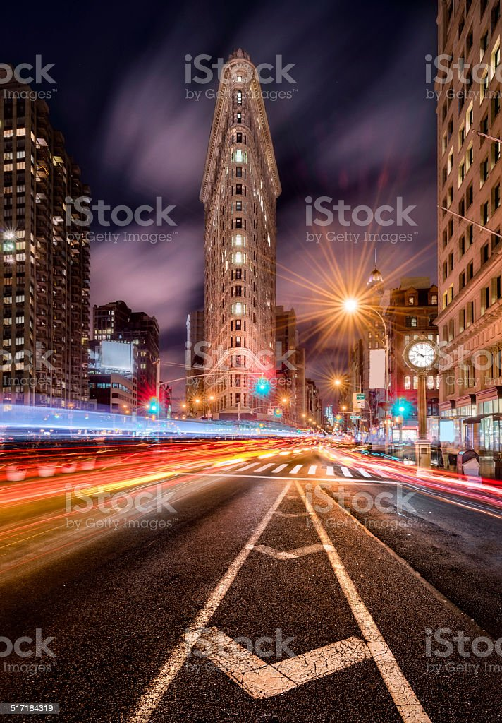 Fifth Avenue at night, New York stock photo