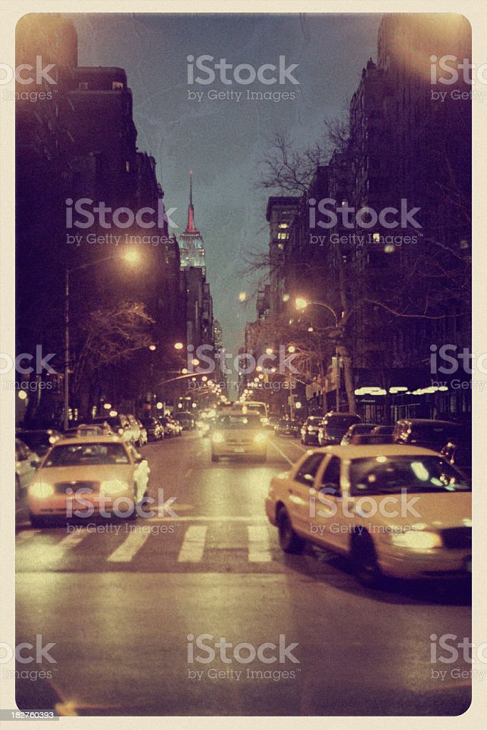 Fifth Avenue at Night - Vintage Postcard stock photo