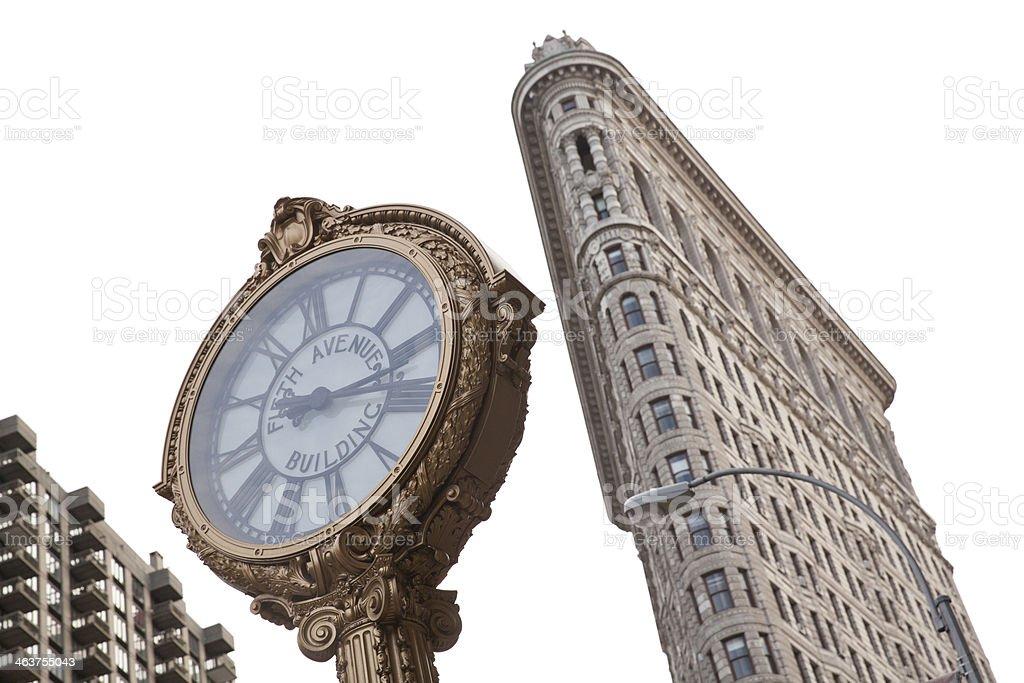 Fifth Avenue Clock and Flatiron building stock photo